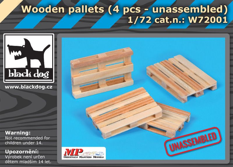 W72001 1/72 Wooden palets 4pcs unassemled Blackdog