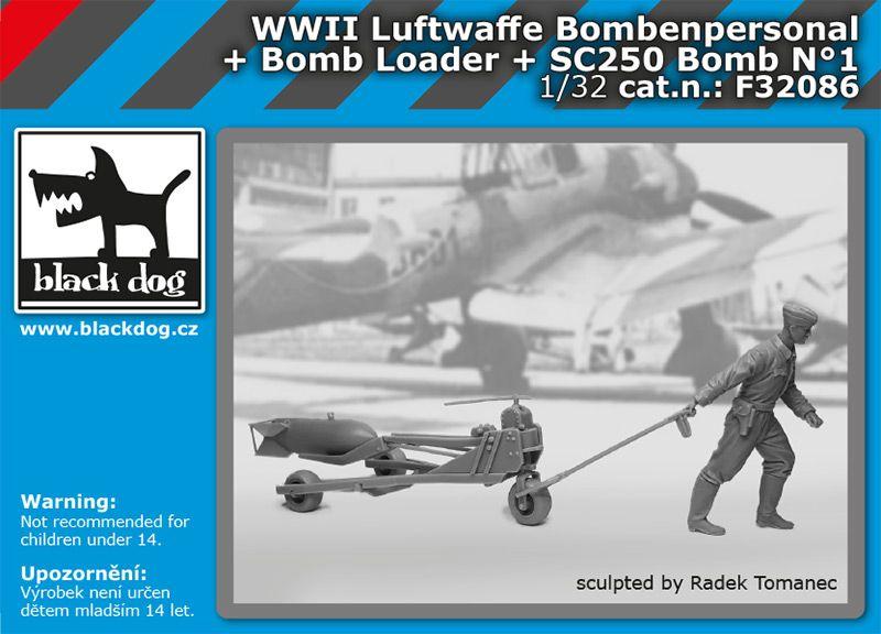 F32086 1/32 WW II Luftwaffe bombenpersonal + Bomb loader + SC250 bomb N°1 Blackdog