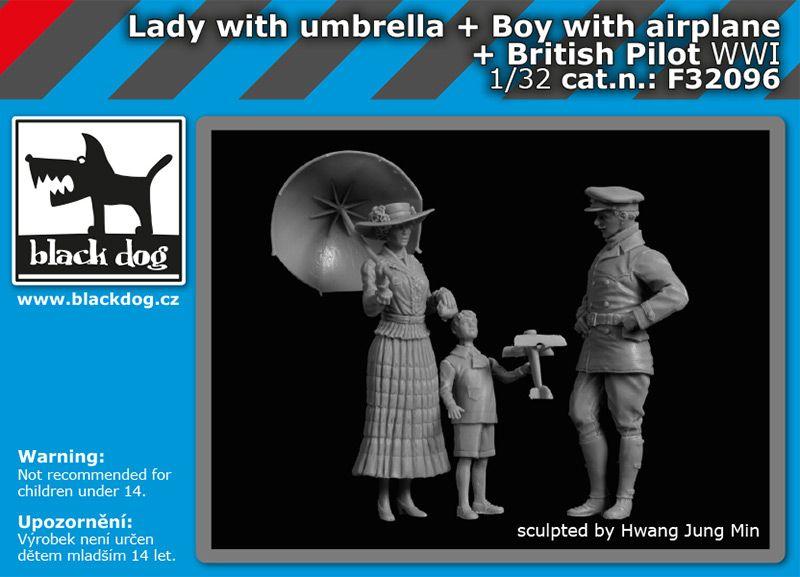 F32096 1/32 Lady with umbrella+boy with airplane+british pilot WW I Blackdog