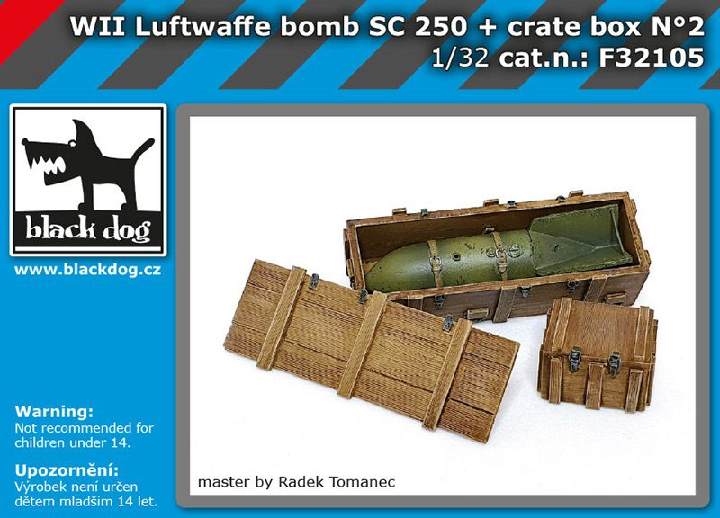 F32105 1/32 WW II Luftwaffe bomb SC 250 + crate box N°2 Blackdog