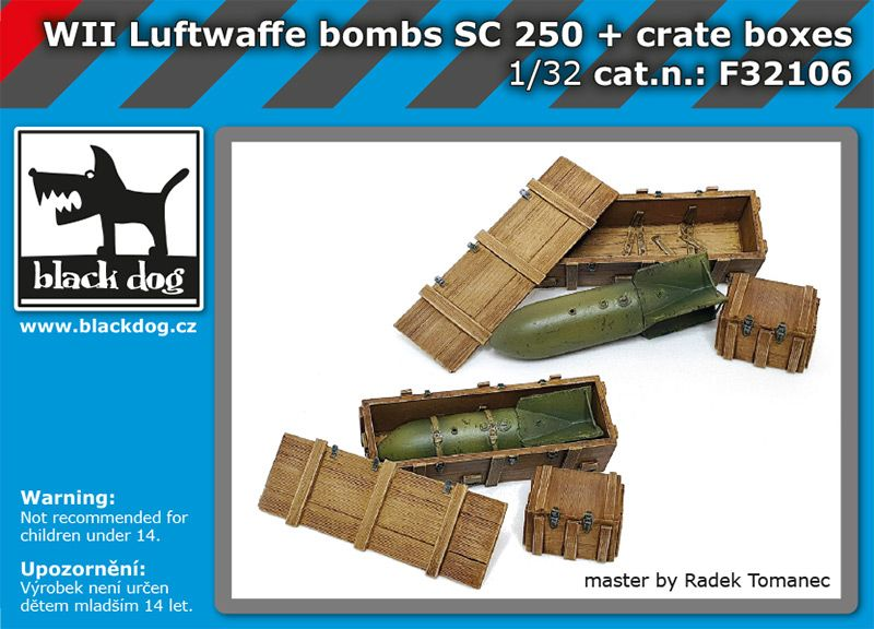 F32106 1/32 WW II Luftwaffe bombs SC250 + crate boxes Blackdog