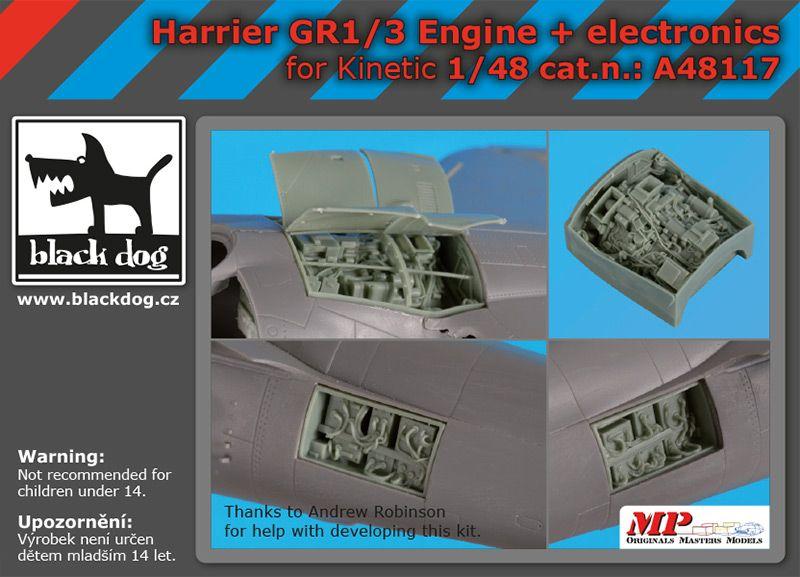 A48117 1/48 Harrier GR 1/3 engine +electronics Blackdog
