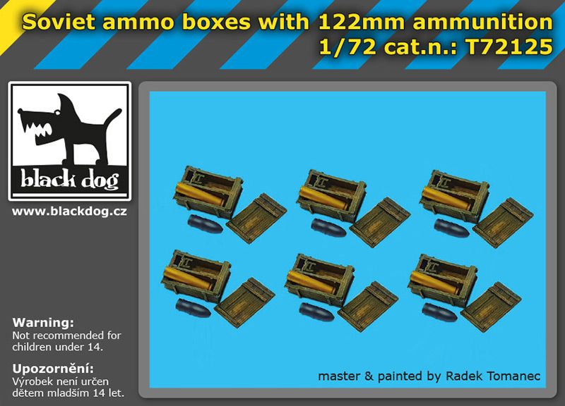 T72125 1/72 Soviet ammo boxes with 122 mm ammunition Blackdog