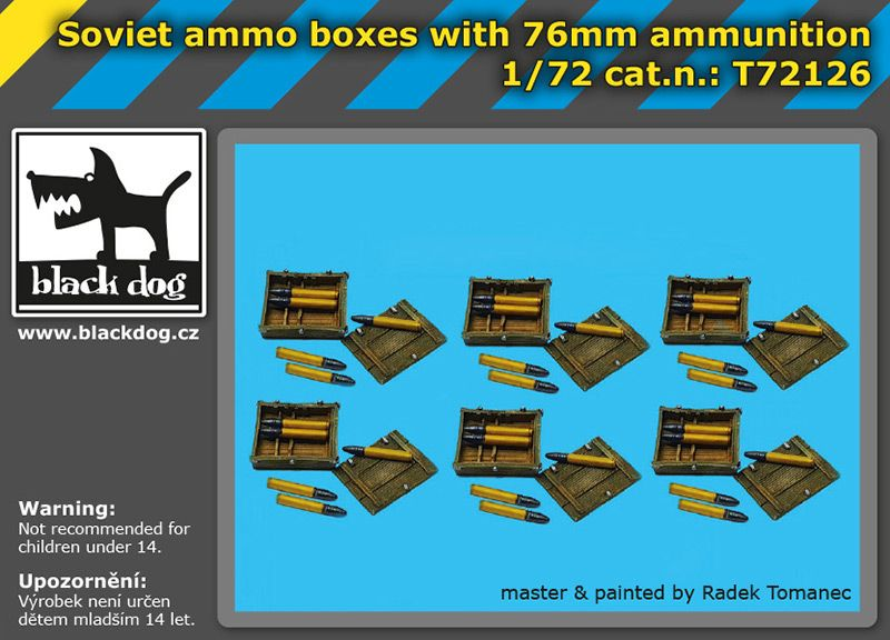 T72126 1/72 Soviet ammo boxes with 76 mm ammunition Blackdog