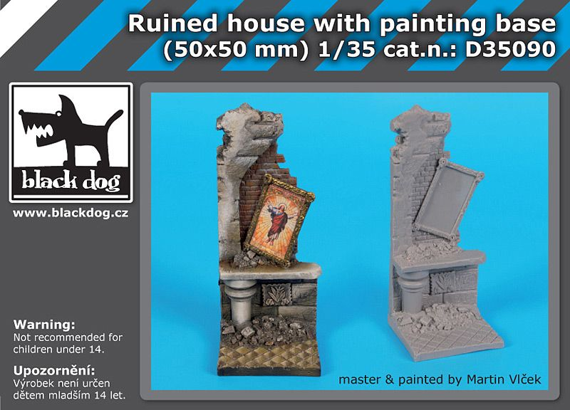 D35090 1/35 Ruined housewith painting base Blackdog